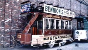 A typical double deck horse tram, this one is from