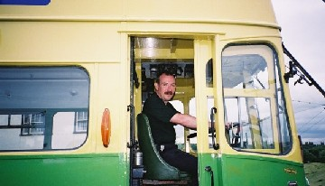 Me in June 2002, driving my favourite trolleybus